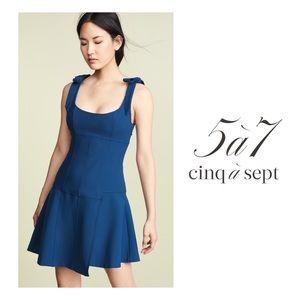 CINQ A SEPT Jeanette Bow Lapis Blue Body Con Dress